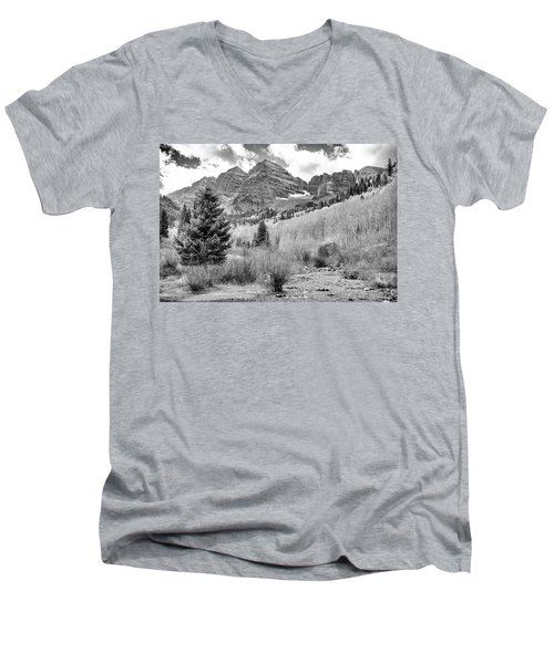 Men's V-Neck T-Shirt featuring the photograph Maroon Bells Monochrome by Eric Glaser