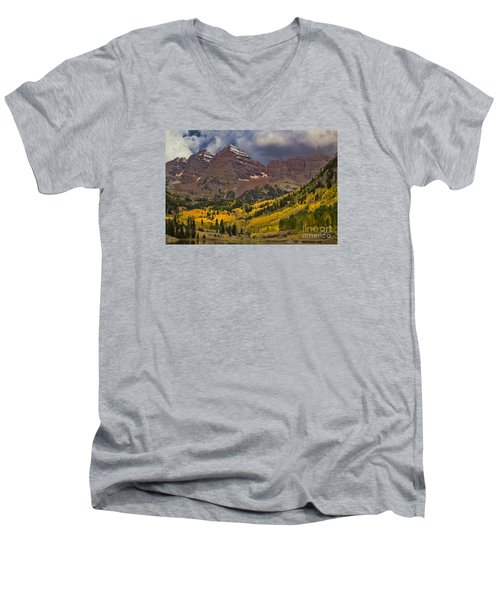 Maroon Bells Men's V-Neck T-Shirt by Steven Parker