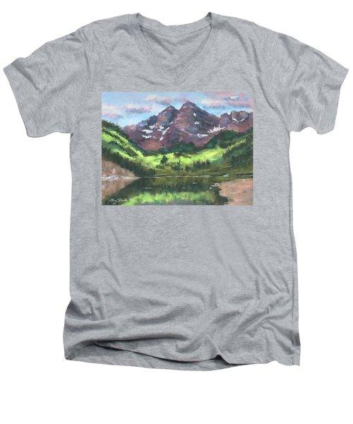 Maroon Reflections Men's V-Neck T-Shirt