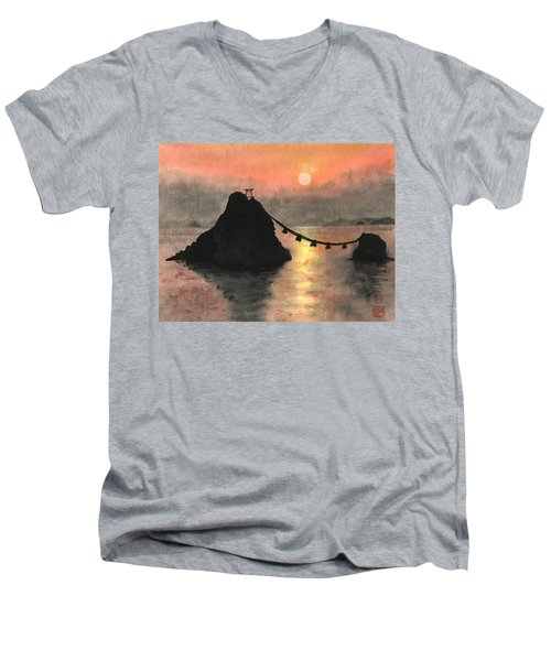 Married Couple Rocks At Sunset Men's V-Neck T-Shirt