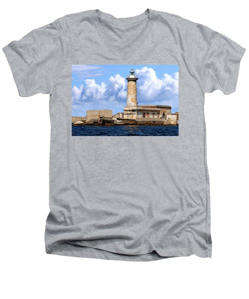 Marsala Lighthouse Men's V-Neck T-Shirt