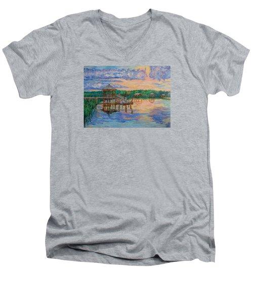 Marsh View At Pawleys Island Men's V-Neck T-Shirt by Kendall Kessler