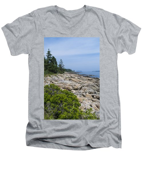 Marshall Ledge Looking Downeast Men's V-Neck T-Shirt