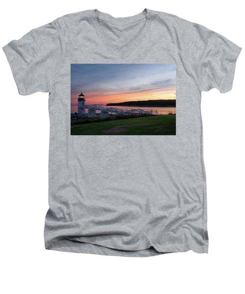 Marshall Point Lighthouse, Port Clyde, Maine -87444 Men's V-Neck T-Shirt by John Bald
