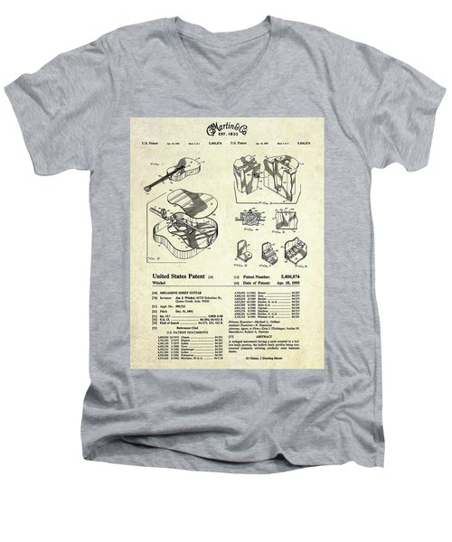 Martin Guitar Patent Art Men's V-Neck T-Shirt by Gary Bodnar