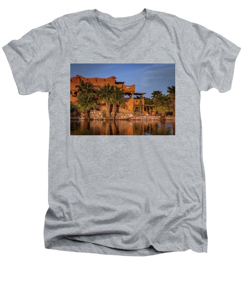 Martinez Lake Men's V-Neck T-Shirt by Martina Thompson