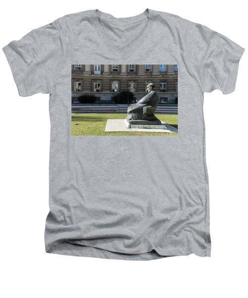 Marulic Square Zagreb  Men's V-Neck T-Shirt by Steven Richman