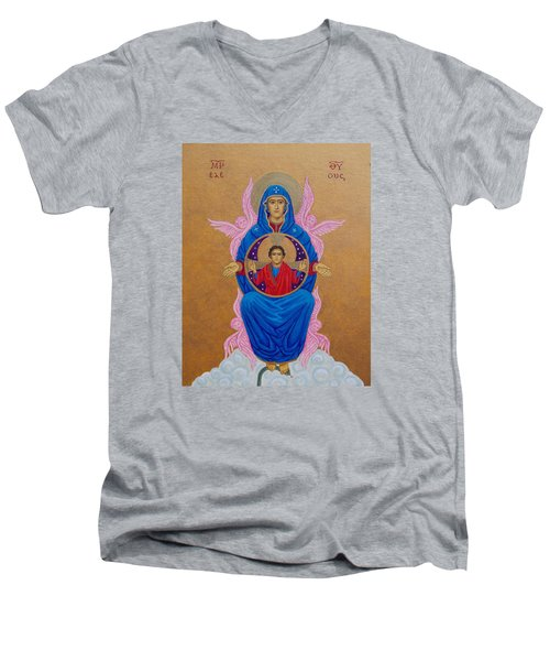 Mary Mother Of Mercy Icon - Jubilee Year Of Mercy Men's V-Neck T-Shirt by Michele Myers