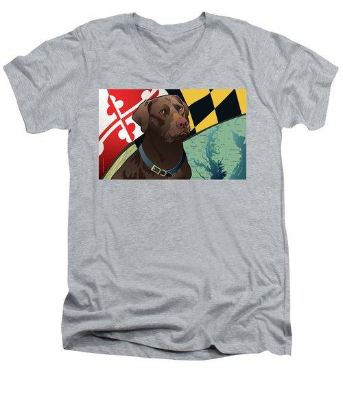 Maryland Chocolate Lab Men's V-Neck T-Shirt