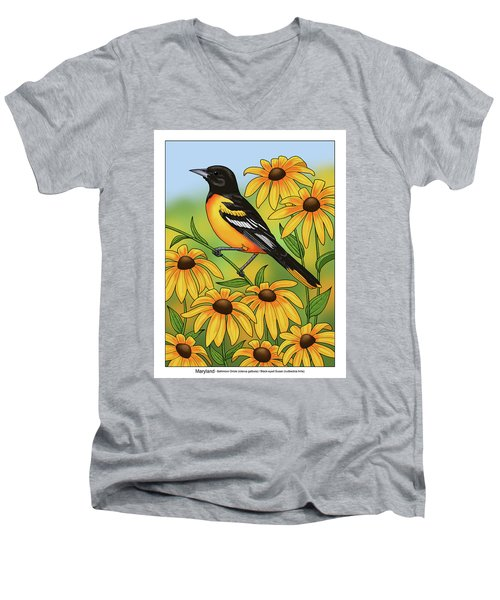 Maryland State Bird Oriole And Daisy Flower Men's V-Neck T-Shirt by Crista Forest