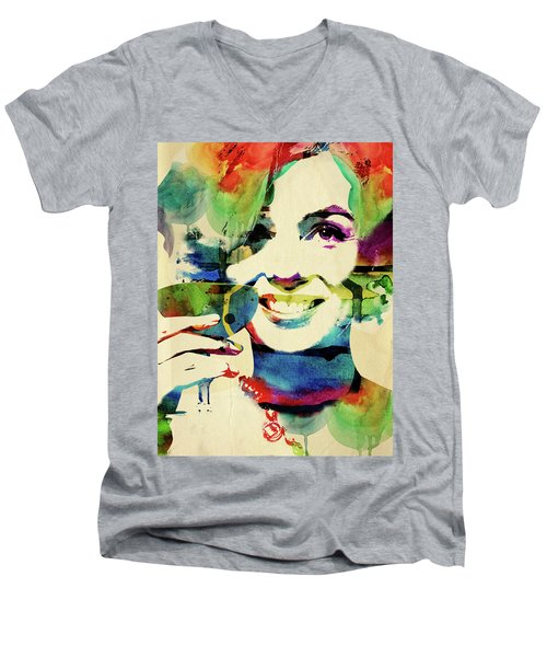 Marilyn And Her Drink Men's V-Neck T-Shirt by Mihaela Pater
