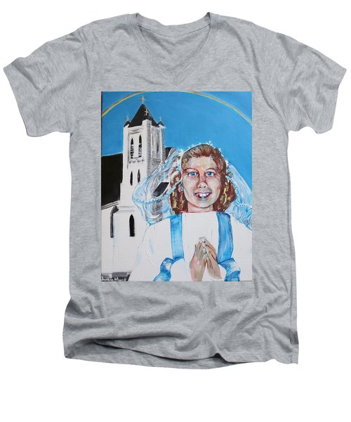Mary's First Communion Men's V-Neck T-Shirt