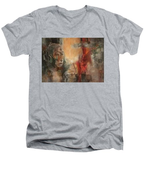 Symbol Mask Painting - 08 Men's V-Neck T-Shirt by Behzad Sohrabi