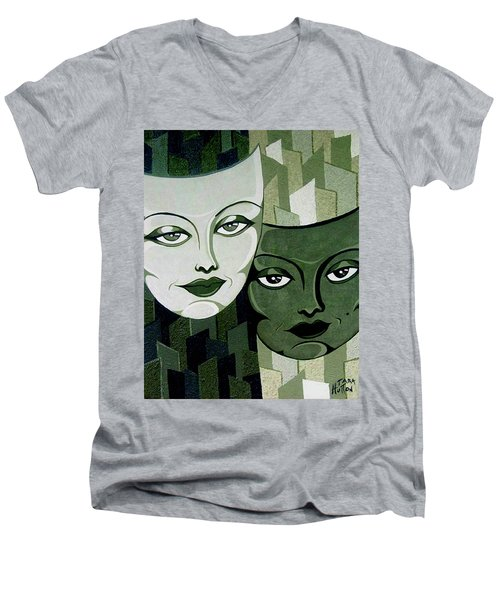 Masks Verde Men's V-Neck T-Shirt