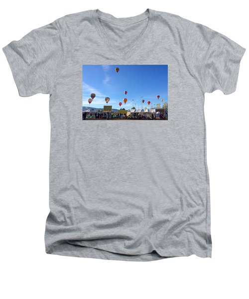 Men's V-Neck T-Shirt featuring the photograph Mass Ascension Taos Balloon Festival by Brenda Pressnall