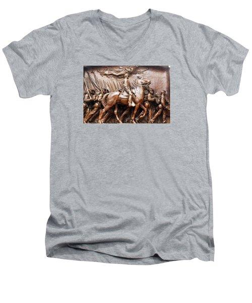 Massachusetts 54th  Men's V-Neck T-Shirt by James Kirkikis