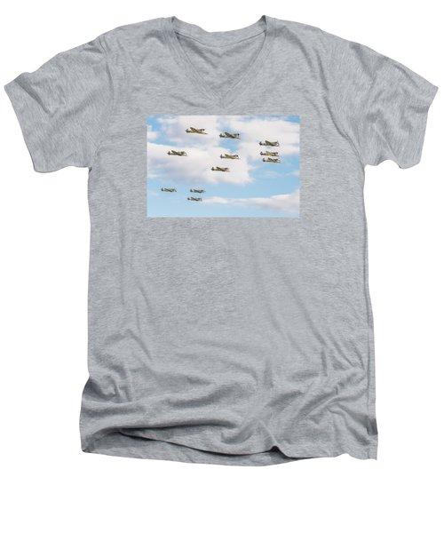 Massed Spitfires Men's V-Neck T-Shirt by Gary Eason