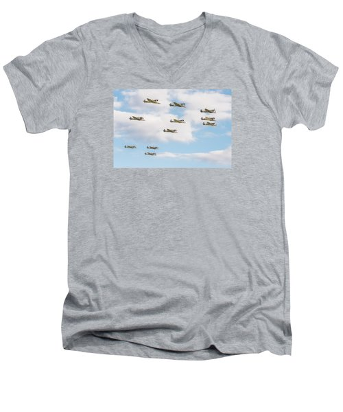 Massed Spitfires Men's V-Neck T-Shirt