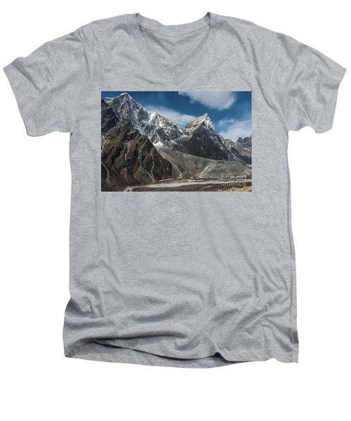 Men's V-Neck T-Shirt featuring the photograph Massive Tabuche Peak Nepal by Mike Reid