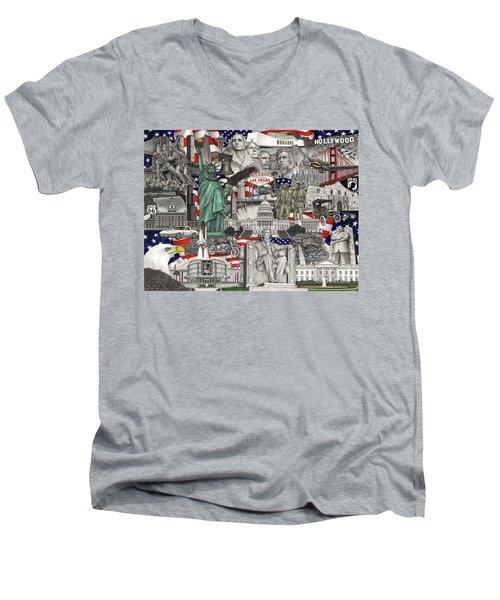 Masterpiece America Men's V-Neck T-Shirt