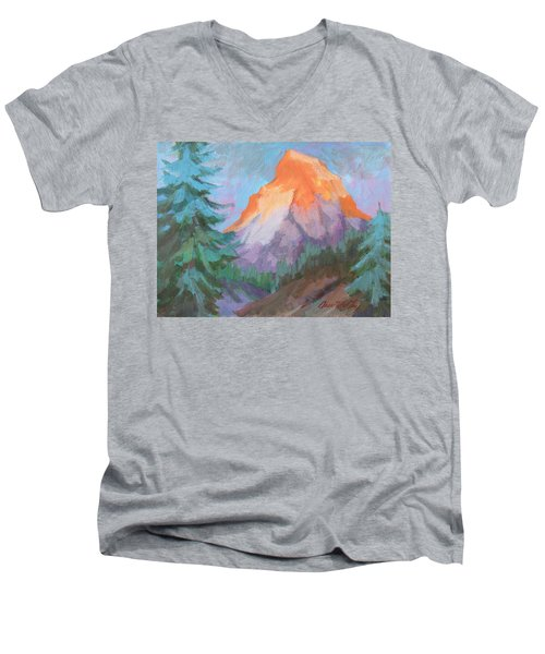 Men's V-Neck T-Shirt featuring the painting Matterhorn Sunrise by Diane McClary