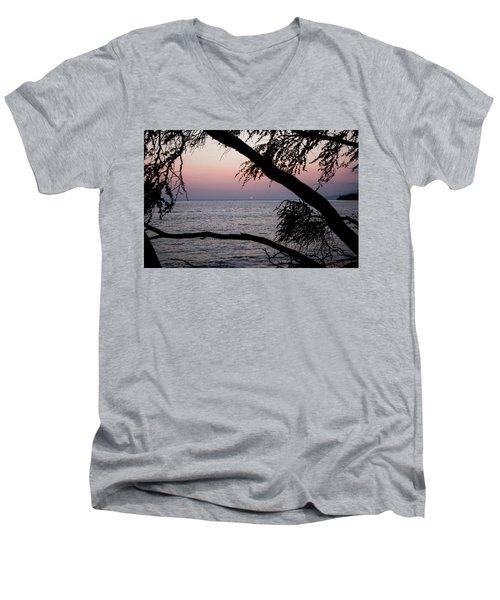 Men's V-Neck T-Shirt featuring the photograph Maui Sunset by Jennifer Ancker