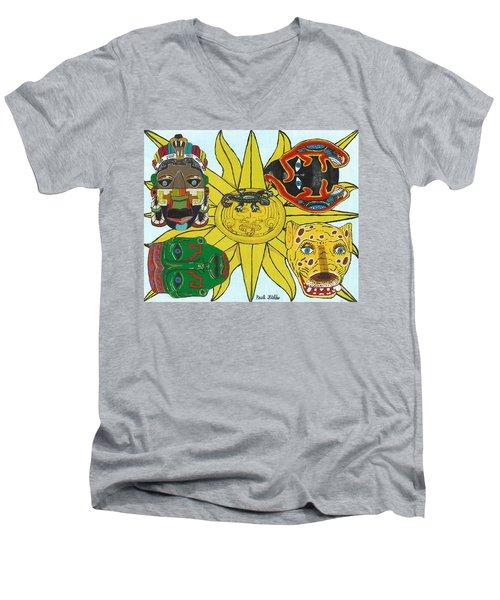 May  Aztec Masks Men's V-Neck T-Shirt