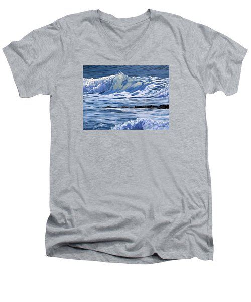 Men's V-Neck T-Shirt featuring the painting May Wave by Lawrence Dyer