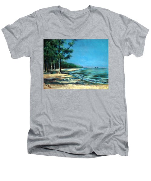 Men's V-Neck T-Shirt featuring the painting Maybe A Picnic by Suzanne McKee