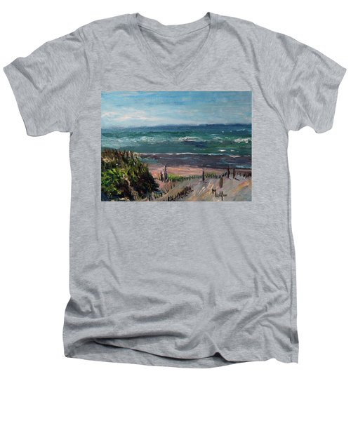 Mayflower Beach Men's V-Neck T-Shirt by Michael Helfen