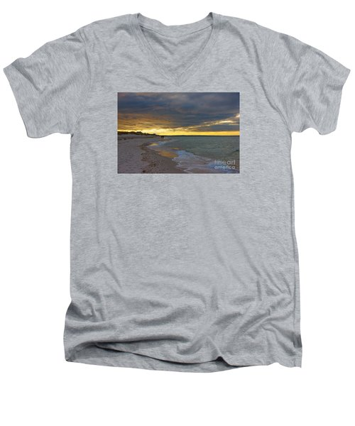 Mayflower Beach Walk Men's V-Neck T-Shirt by Amazing Jules