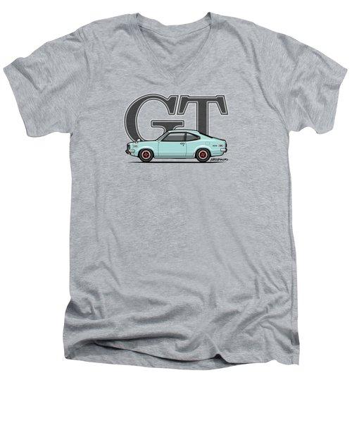 Mazda Savanna Gt Rx-3 Baby Blue Men's V-Neck T-Shirt by Monkey Crisis On Mars