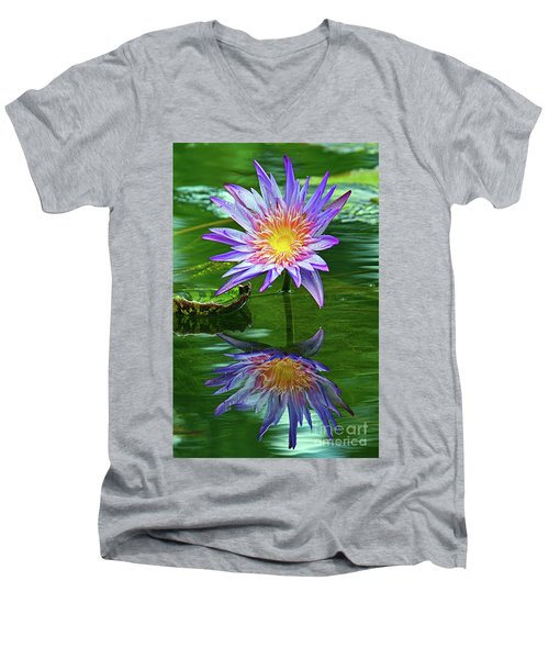 Mckee Water Lily Men's V-Neck T-Shirt by Larry Nieland