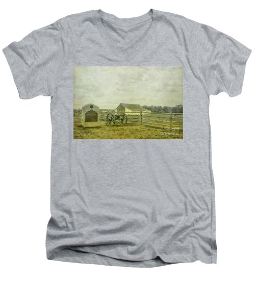 Men's V-Neck T-Shirt featuring the digital art Mcpherson Barn And Cannon Gettysburg  by Randy Steele