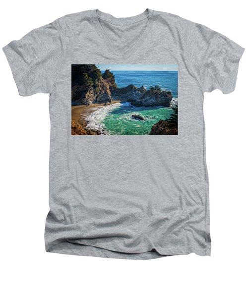Mcway Falls Julia Pfieffer State Park Men's V-Neck T-Shirt by James Hammond