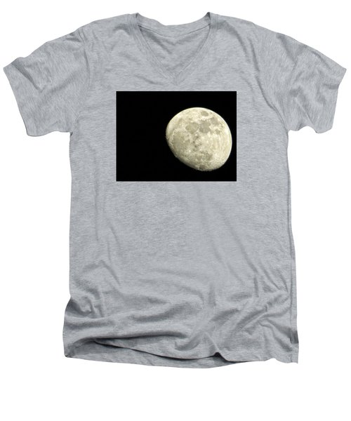 Men's V-Neck T-Shirt featuring the photograph Me And The Moon Tonight by Nikki McInnes
