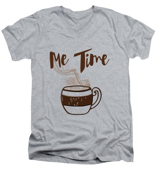 Me Time - Steaming Cup Of Coffee Men's V-Neck T-Shirt by Joann Vitali