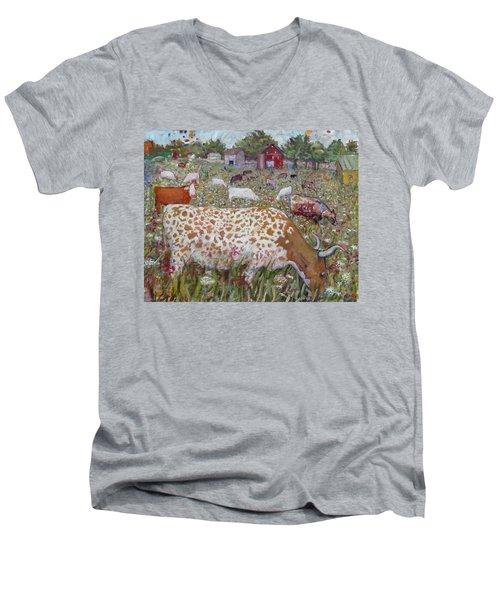 Meadow Farm Cows Men's V-Neck T-Shirt