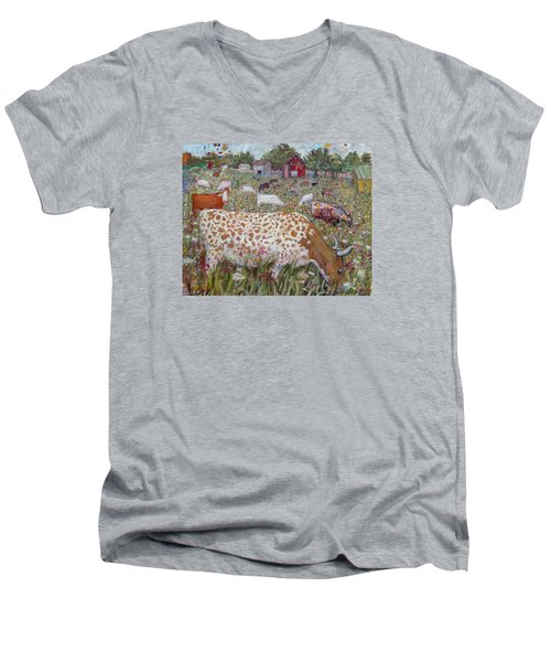Meadow Farm Cows Men's V-Neck T-Shirt