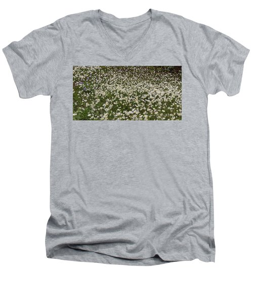 Men's V-Neck T-Shirt featuring the photograph Meadow Of Daisey Wildflowers Panorama by James BO Insogna
