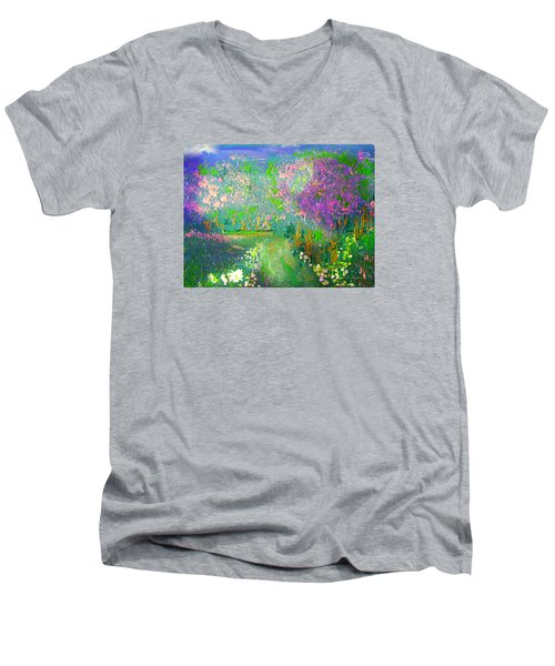 Meadow Trail By Colleen Ranney Men's V-Neck T-Shirt