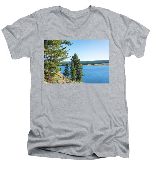 Meadowlark Lake And Trees Men's V-Neck T-Shirt by Jess Kraft