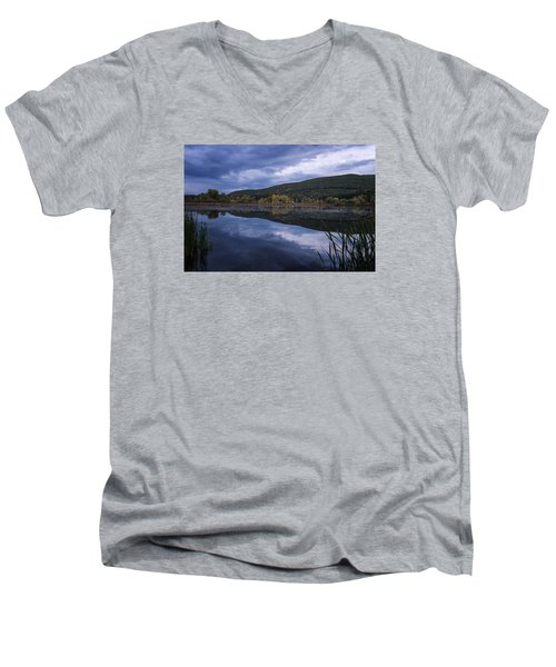 Men's V-Neck T-Shirt featuring the photograph Meadows Dusk by Tom Singleton