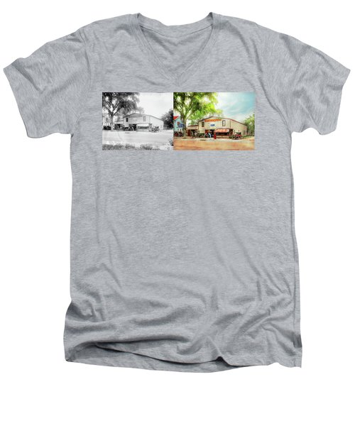 Men's V-Neck T-Shirt featuring the photograph Mechanic - All Cars Finely Tuned 1920 - Side By Side by Mike Savad