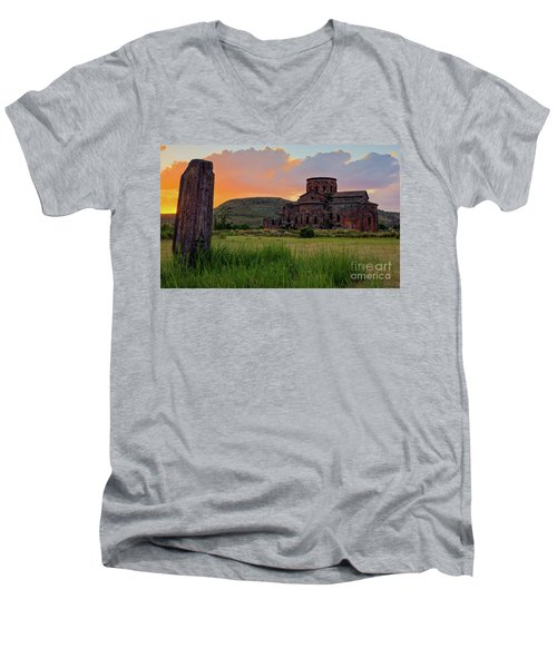 Mediaval Talin's Cathedral At Sunset With Cross Stone In Front, Armenia Men's V-Neck T-Shirt by Gurgen Bakhshetsyan