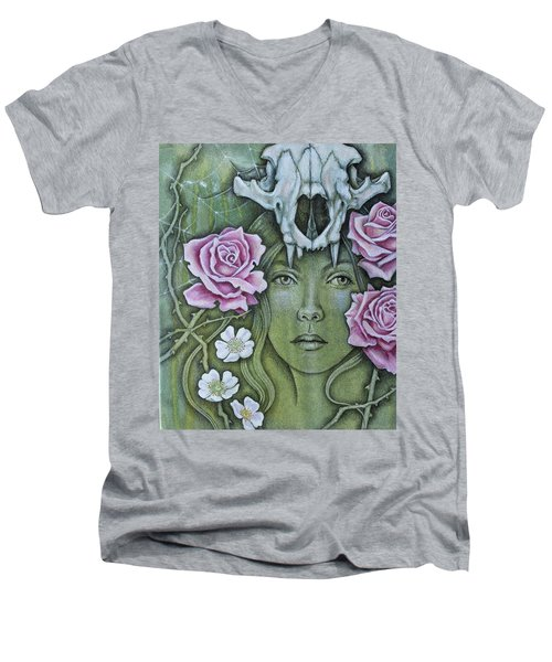 Men's V-Neck T-Shirt featuring the mixed media Medicinae by Sheri Howe