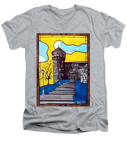 Men's V-Neck T-Shirt featuring the painting Medieval Bastion -  Mace Tower Of Buda Castle Hungary By Dora Hathazi Mendes by Dora Hathazi Mendes