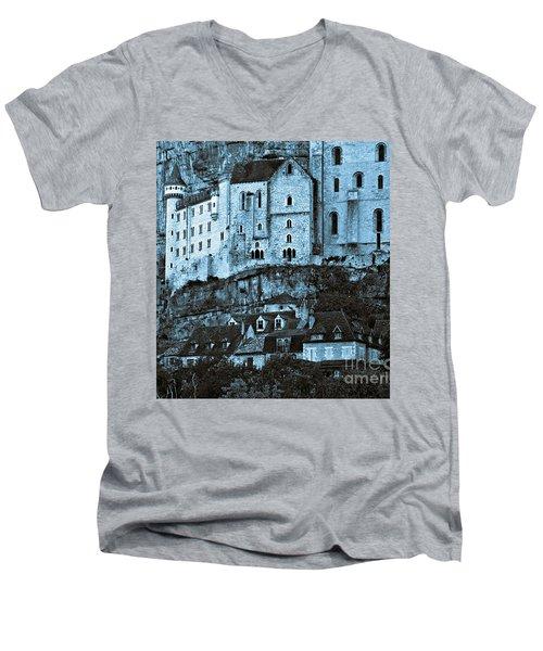 Medieval Castle In The Pilgrimage Town Of Rocamadour Men's V-Neck T-Shirt