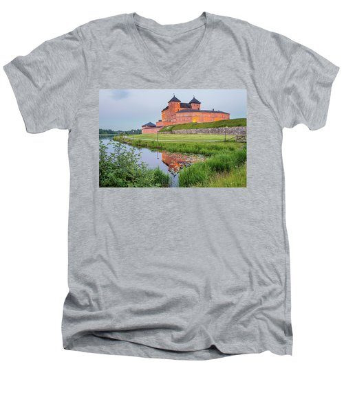 Medieval Castle Men's V-Neck T-Shirt by Teemu Tretjakov