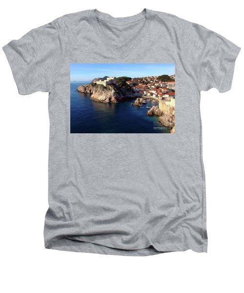 Medieval Fortresses Lovrijenac And Bokar Dubrovnik Men's V-Neck T-Shirt